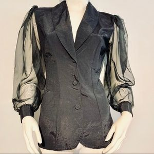 Vintage 80's Puff Sleeve Fitted Jacket/ Top